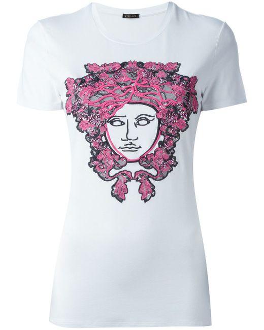 Футболка С Вышивкой Medusa Versace                                                                                                              белый цвет