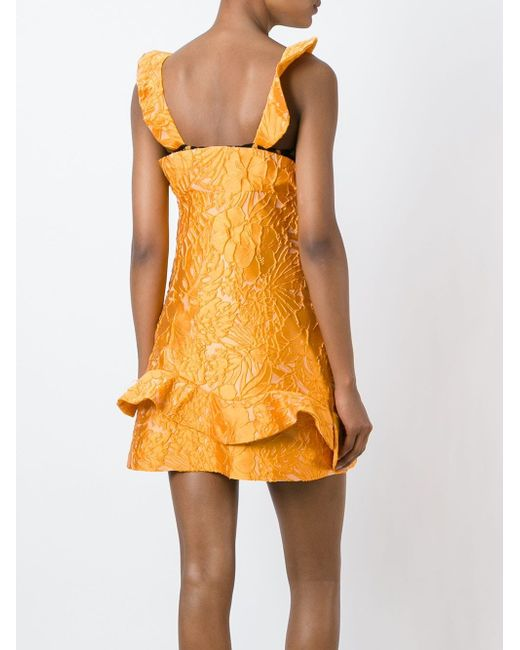 Структурированное Платье С Кружевной Отделкой MSGM                                                                                                              желтый цвет