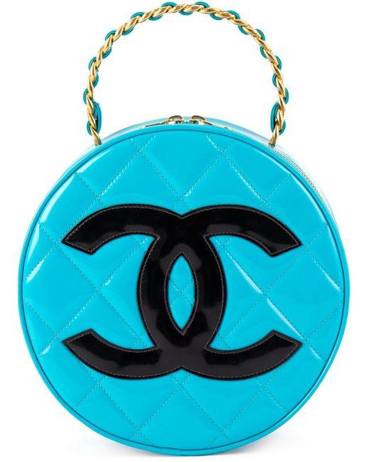 Круглый Клатч С Логотипом Chanel Vintage                                                                                                              синий цвет