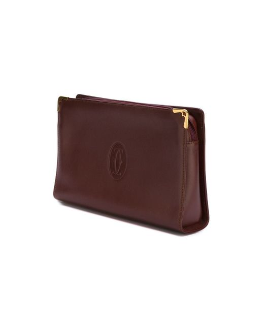 Клатч С Тисненым Логотипом Cartier Vintage                                                                                                              красный цвет