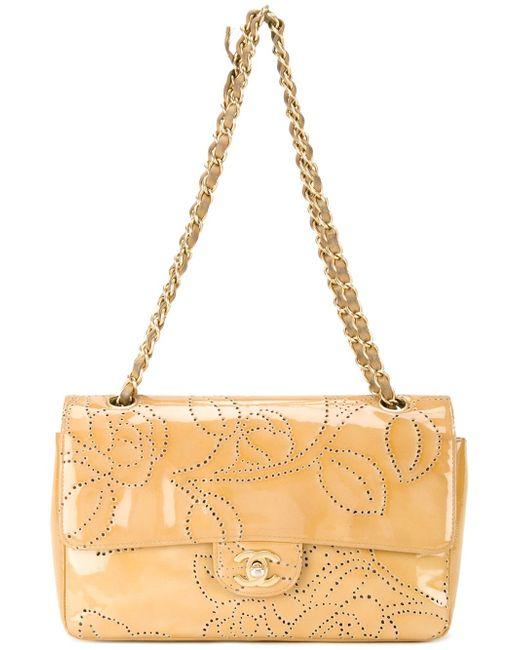 Сумка На Плечо С Цветочным Узором Chanel Vintage                                                                                                              коричневый цвет