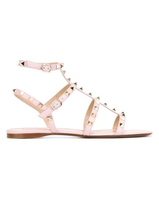 Сандалии Rockstud Valentino                                                                                                              розовый цвет
