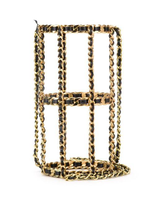 Сумка-Клетка На Плечо Chanel Vintage                                                                                                              серебристый цвет