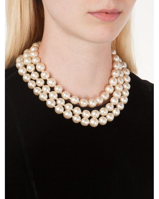 Ожерелье Из Искусственного Жемчуга Chanel Vintage                                                                                                              белый цвет