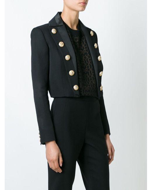 Укороченный Пиджак С Декоративными Пуговицами Balmain                                                                                                              чёрный цвет
