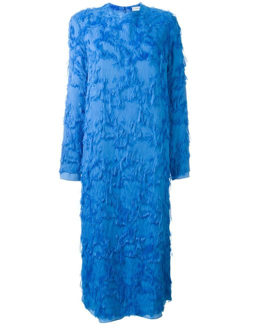 Платье С Бахромой Carven                                                                                                              синий цвет