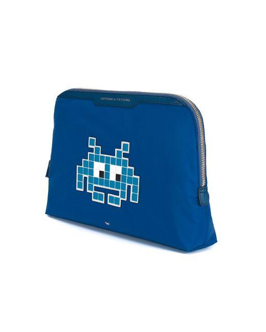 Косметичка Space Invaders Anya Hindmarch                                                                                                              синий цвет