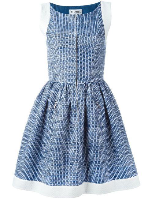 Платье С Расклешенной Юбкой Chanel Vintage                                                                                                              синий цвет