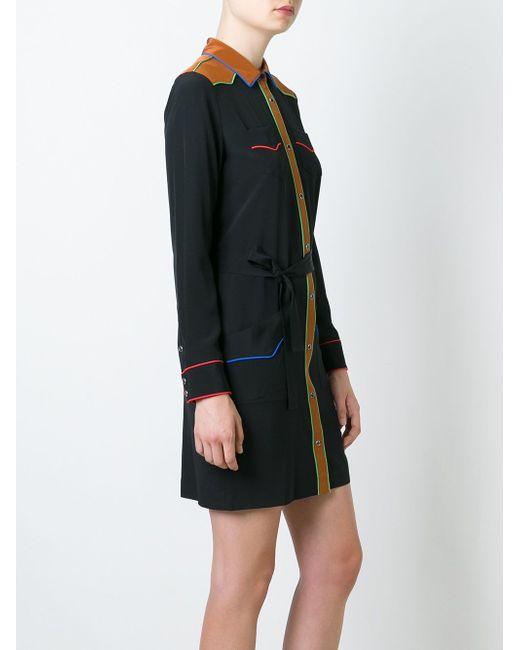 Платье-Рубашка С Контрастной Окантовкой COACH                                                                                                              чёрный цвет
