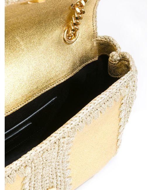 Monogram Macramé Shoulder Bag Saint Laurent                                                                                                              серебристый цвет