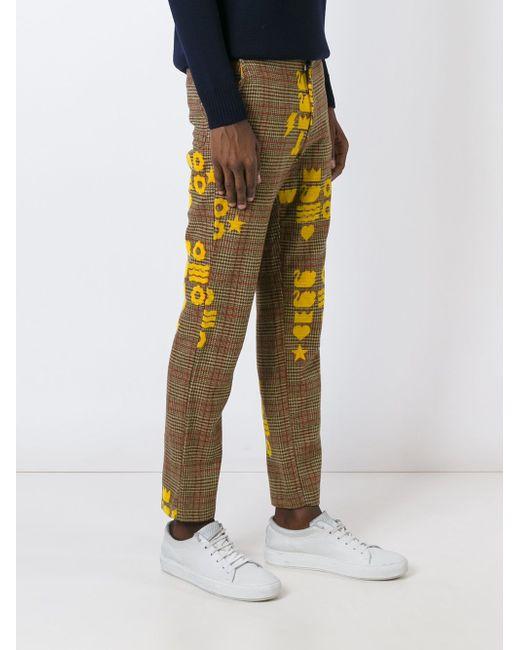 Printed Checked Trousers WALTER VAN BEIRENDONCK VINTAGE                                                                                                              Nude & Neutrals цвет
