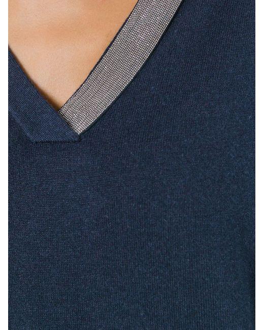 Свитер С V-Образным Вырезом Brunello Cucinelli                                                                                                              синий цвет
