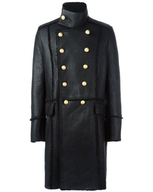 Двубортное Пальто Из Овчины Balmain                                                                                                              чёрный цвет