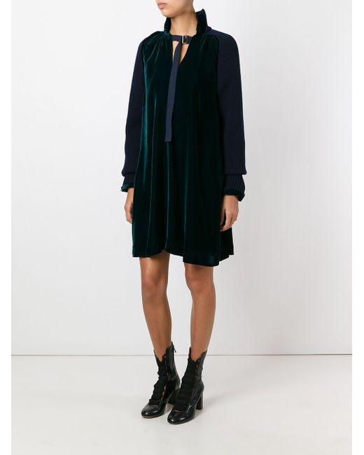 Knitted Sleeve Velvet Dress Sacai                                                                                                              зелёный цвет