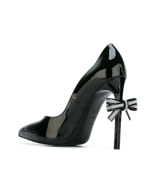 Туфли С Бантом На Шпильках Saint Laurent                                                                                                              чёрный цвет