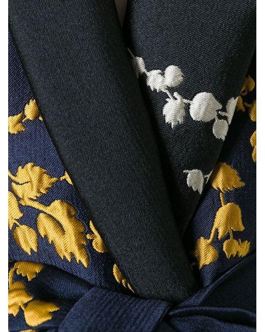 Приталенный Жакет С Цветочной Вышивкой Odeeh                                                                                                              синий цвет