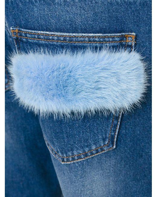 Укороченные Джинсы С Меховой Отделкой MSGM                                                                                                              синий цвет