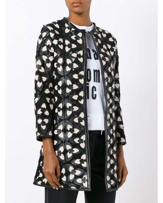 Пиджак С Цветочными Заплатками CABAN ROMANTIC                                                                                                              чёрный цвет