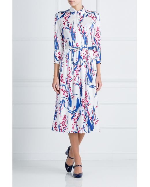 Шелковое Платье Alexander Terekhov                                                                                                              синий цвет