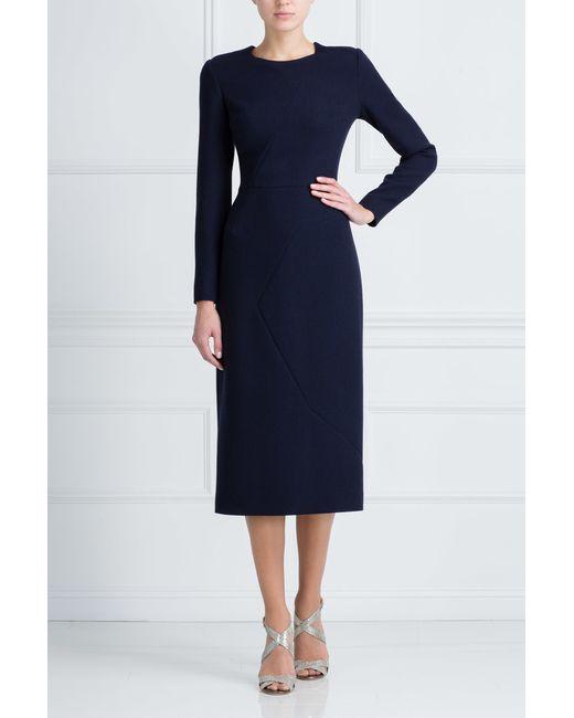 Шерстяное Платье A La Russe                                                                                                              синий цвет