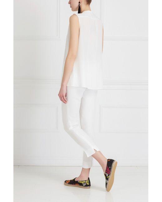 Шелковый Топ Etro                                                                                                              белый цвет