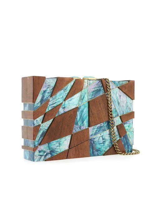 Клатч Из Перламутра И Дерева Guggenheim Emm Kuo                                                                                                              коричневый цвет