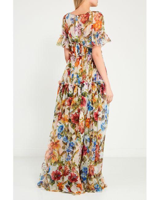 1a07c6870c3dd0c ... Платье Из Цветного Шелка С Воланами Dolce & Gabbana многоцветный ...