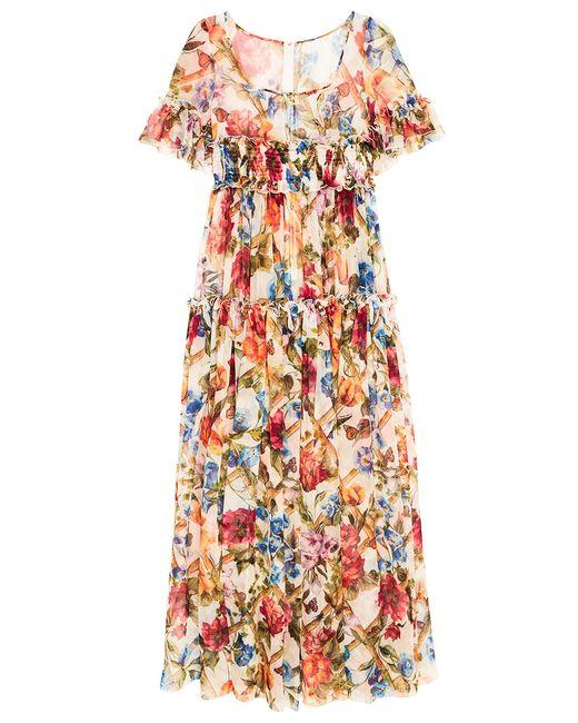 84ba1b1537068bd Платье Из Цветного Шелка С Воланами Dolce & Gabbana многоцветный ...