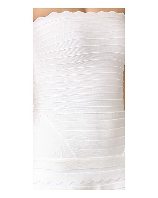 Платье Phoebe Без Бретелек Hervé Léger                                                                                                              Алебастровый цвет