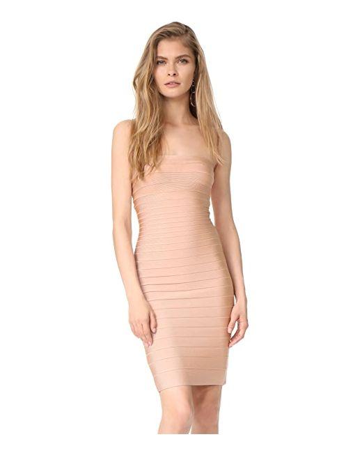 Приталенное Платье Без Бретелек Hervé Léger                                                                                                              оранжевый цвет