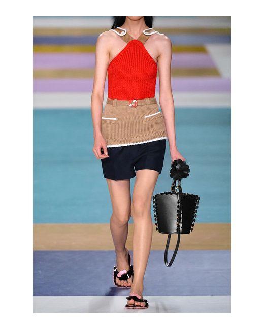 Appliquéd Leather Bucket Bag Miu Miu                                                                                                              чёрный цвет