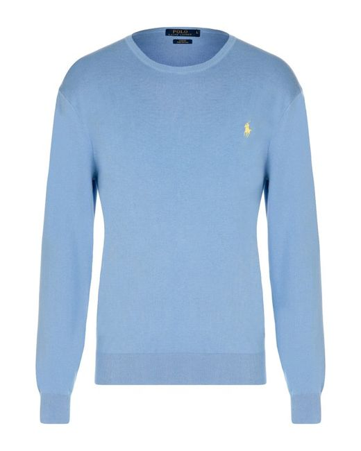 Хлопковый Джемпер С Круглым Вырезом Polo Ralph Lauren                                                                                                              голубой цвет