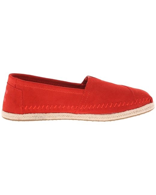 Seasonal Classics Suede/Rope Womens Slip On Shoes Toms                                                                                                              красный цвет