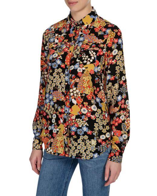 Шелковая Блуза С Контрастным Принтом И Накладными No. 21                                                                                                              многоцветный цвет