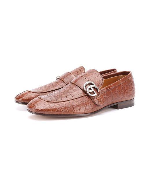 Лоферы Из Кожи Крокодила Gucci                                                                                                              коричневый цвет