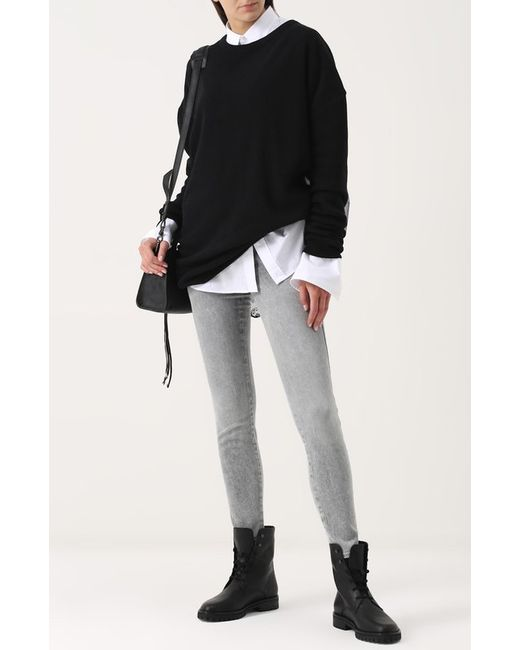 Кожаные Ботинки На Шнуровке Ann Demeulemeester                                                                                                              чёрный цвет