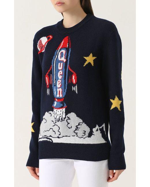 Шерстяной Пуловер С Принтом Dolce & Gabbana                                                                                                              синий цвет