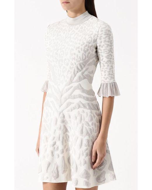 Приталенное Мини-Платье С Воротником-Стойкой Roberto Cavalli                                                                                                              белый цвет