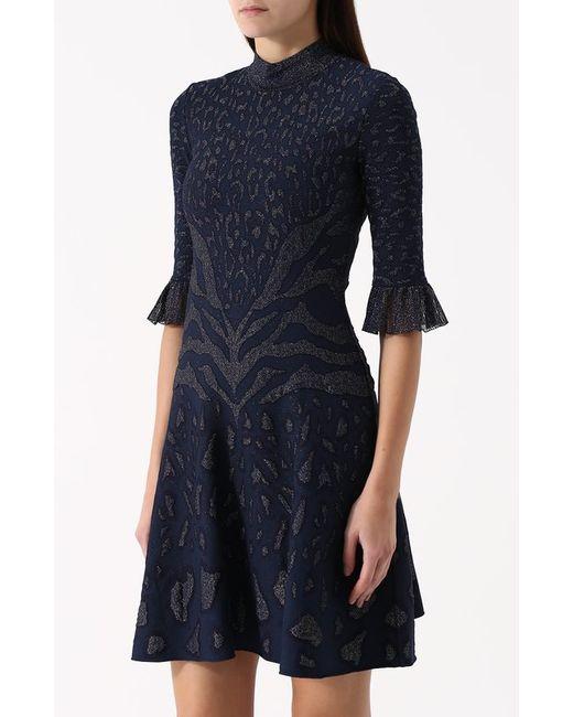 Приталенное Мини-Платье С Воротником-Стойкой Roberto Cavalli                                                                                                              синий цвет
