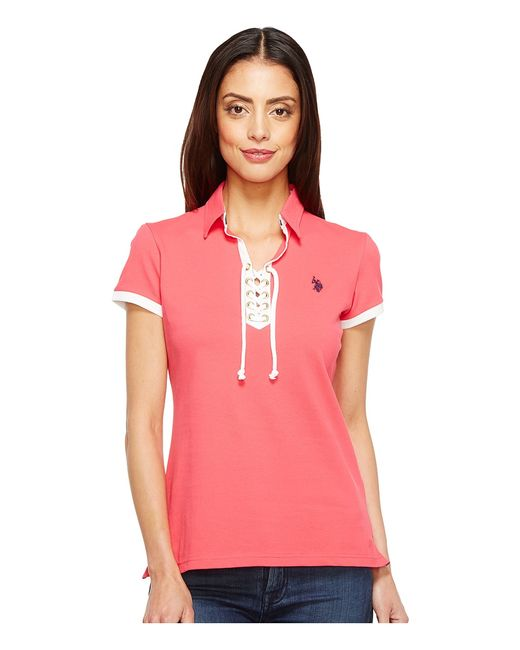 U.S. Polo Assn.   Розовый U.S. Polo Assn. Lace-Up Pique Polo Shirt