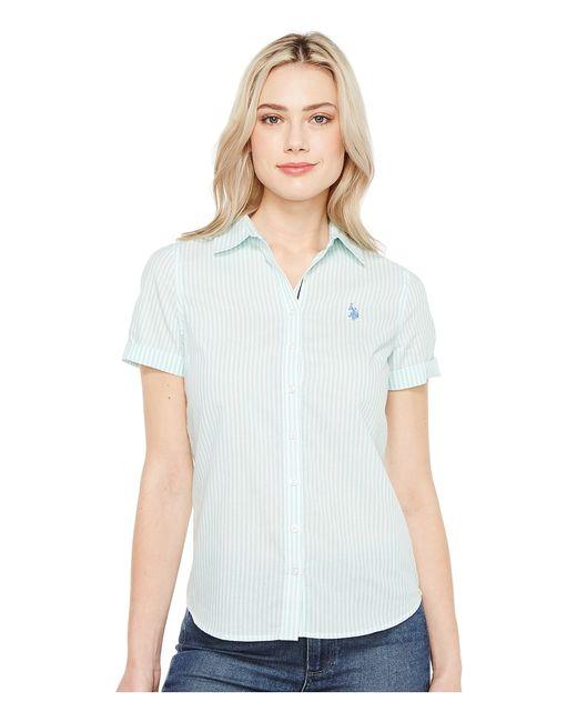 U.S. Polo Assn.   Голубой U.S. Polo Assn. Short Sleeve Woven Shirt