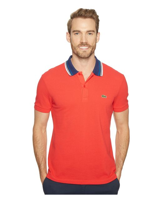 Lacoste | Красный Short Sleeve Semi-Fancy Bold Stripe Collar Polo