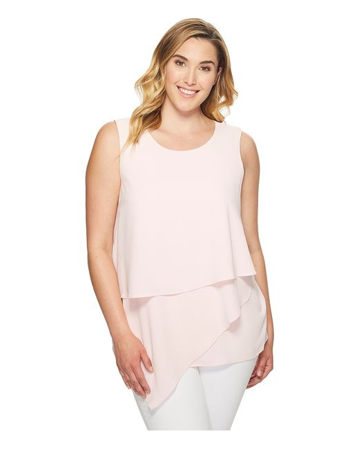 Vince Camuto Specialty Size | Белый Plus Size Sleeveless Asymmetrical Layered Blouse
