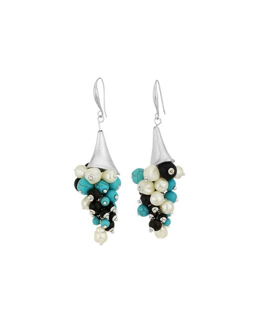 ROBERT LEE MORRIS | Голубой Mixed Semiprecious Shaky Beaded Sculptural Drop Earrings