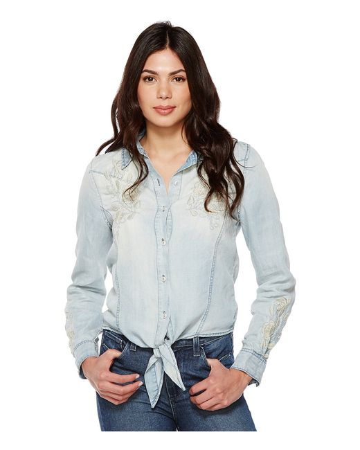 BLANKNYC | Голубой Denim Embroidered Shirt With Knotting Detail In