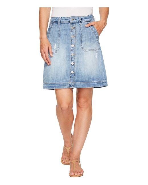 Jag Jeans | Голубой Florence Skirt Crosshatch Denim In Issue