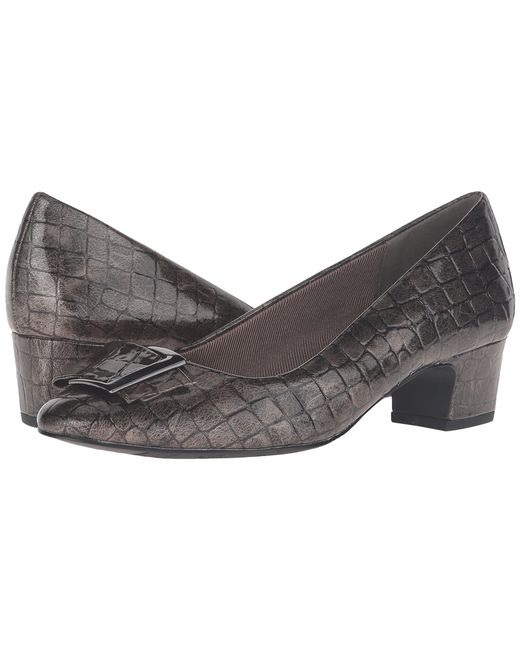 Easy Street   Pewter Wisteria Patent Croco Womens Shoes