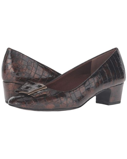 Easy Street | Чёрный Wisteria Bronze Patent Croco Womens Shoes
