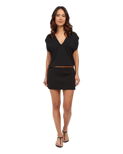 Michael Kors | Чёрный Garden Solids Draped V-Neck W Belt Cover-Up