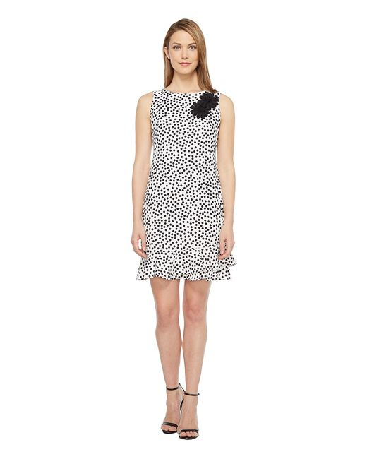 TAYLOR | Чёрный Stretch Crepe Polka Dot Flounce Sheath Dress